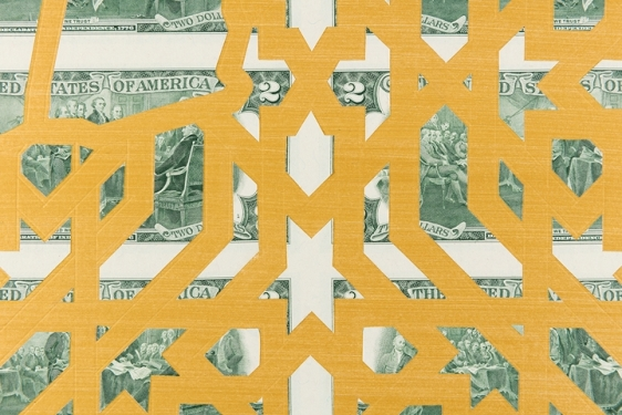 Abdullah M. I. Syed  Mapping Investment: Afghanistan (Detail 2)  2017  Hand-cut U.S. $2 banknote sheet and banknote collage with acrylic on wasli  20.25 x 50.25 in