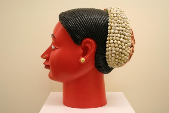Ravinder Reddy HEAD 4 2004 Polyester, resin and fiberglass, painted and gilded 18 x 20 x 12 in.