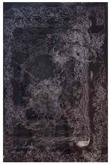 Saad Qureshi UNTITLED (PERSISTENCE OF MEMORY 5) 2013 Carving on carbon paper 18.5 x 15 in.