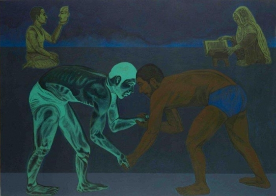 Anwar Saeed Wrestling with an Imaginary Opponent 2010 Acrylic on canvas 60 x 84 in NFS