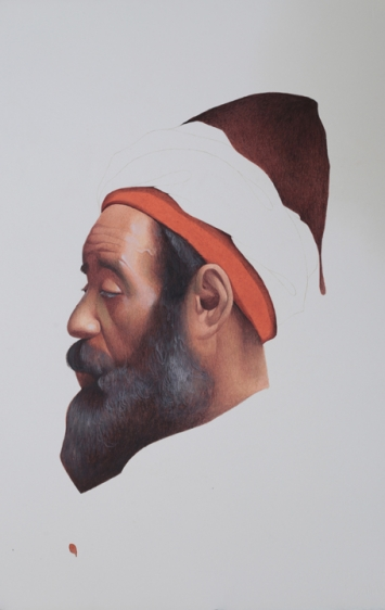 Irfan Hasan Profile of Moroccan Man, After Josep Tapiró Baró 2016 Opaque watercolor on paper 20 x 15 in