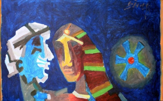 M.F. Husain UNTITLED (HEADS - BLUE) 1970 Oil on canvas 19 x 34 in.