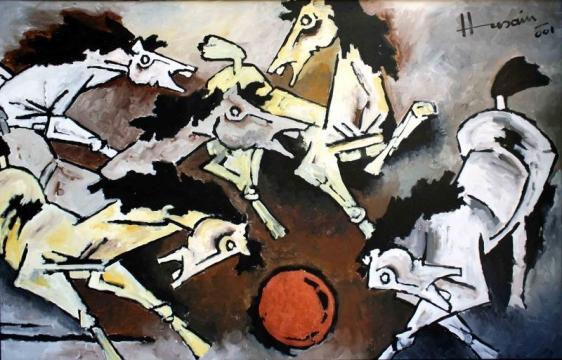 M. F. Husain HORSES 2001 Acrylic on canvas 46 x 72 in.