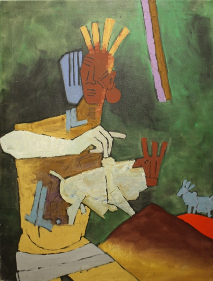 M. F. Husain UNTITLED (TRIBAL WOMAN) 1968 Oil on canvas 47.5 x 36 in.