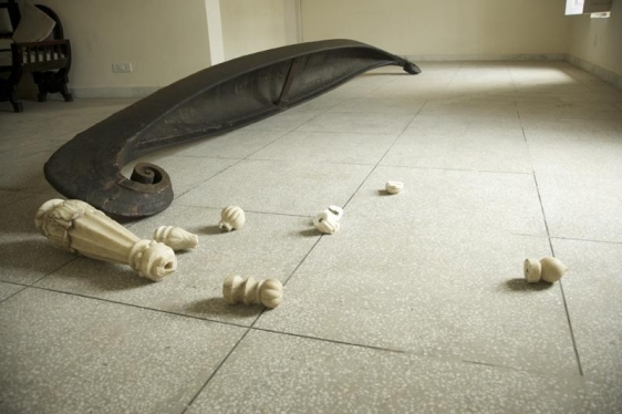 G.R. Iranna THE BOAT ON HUNGER STRIKE 2008 Wood, marble, cotton and metal 228 x 72 x 24 in.