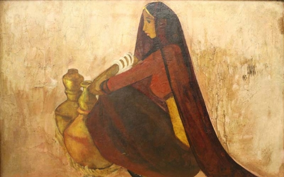 B. Prabha UNTITLED (WOMAN WITH WATER JUGS) 1964 Oil on canvas 25 x 39 in.