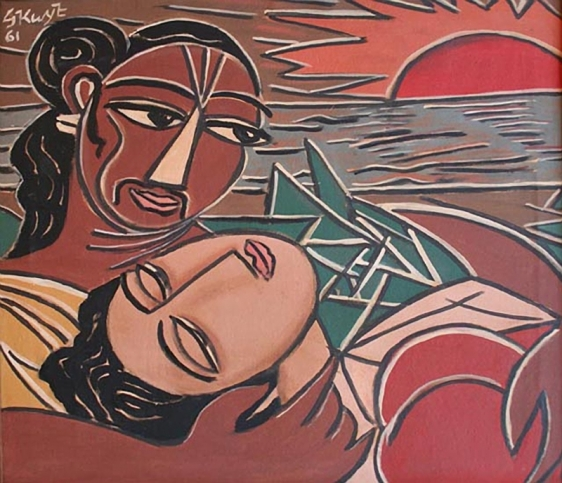 George Keyt Rama and Sita 1961 Oil on canvas 28 x 28 in.