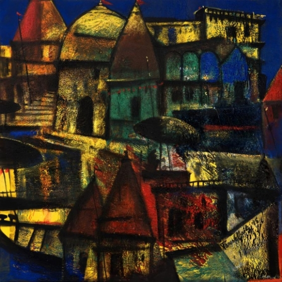 Paresh Maity CITY OF LIGHT 2015 Oil on canvas 48 x 48 in.
