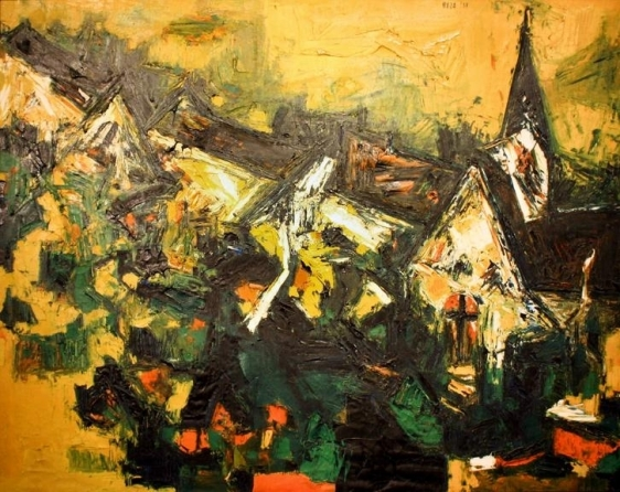 S.H. Raza Untitled (Village) 1958 Oil on canvas 30 x 39 in.