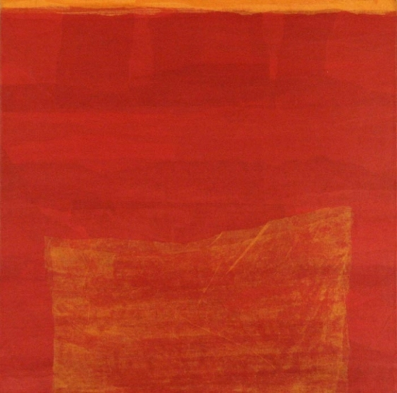 Yogesh Rawal UNTITLED 25 2007 Paper collage: tissue paper, cellulose & synthetic resin on treated wood 18 X 18 in.