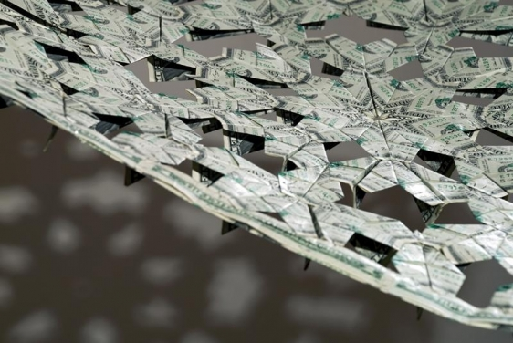 Abdullah M. I. Syed THE FLYING RUG IV 2011 Folded U.S. one dollar bills and staple pins 24 x 38 in.