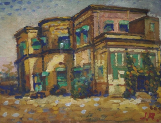 Jamini Roy IMPRESSIONIST HOUSES ND Painting on board 13.5 x 17.5 in.
