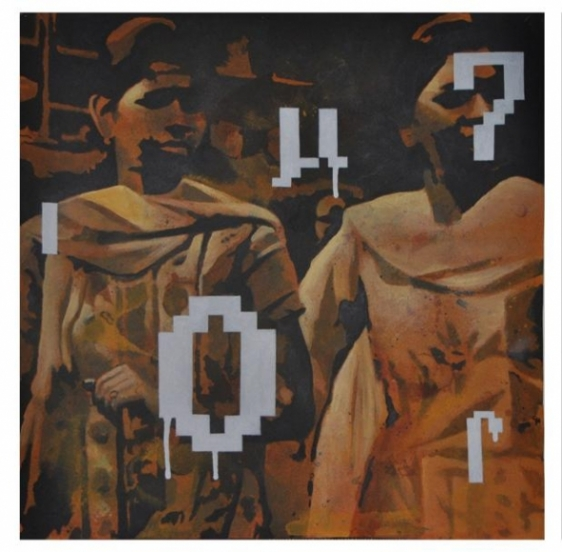 Baiju Parthan PASSAGE 3 (SOFT GRAFFITI SERIES) 2010 Acrylic on paper 22 x 22 in.