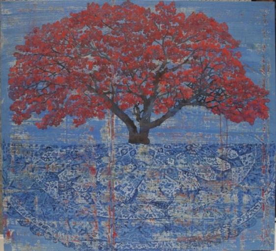 G. R. Iranna TREE ON CARPET 2015 Acrylic on tarpaulin 66 x 66 in.