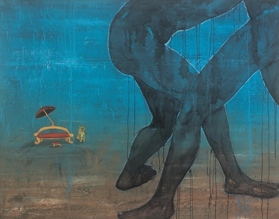 G.R. Iranna UNTITLED 2007 Acrylic on tarpaulin 52 x 66 in.  SOLD
