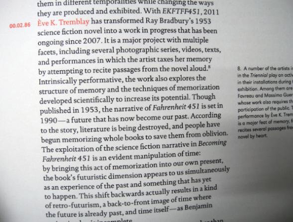 EVE K. TREMBLAY DANS LE CATALOGUE TRIENNALE QUÉBÉCOISE 2011