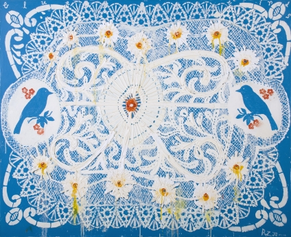 Robert Rahway Zakanitch The Lace Paintings Locks Gallery Blue Birds