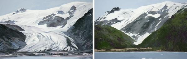 Diane Burko Locks Gallery Politics of Snow Toboggan Glacier #1 and #2