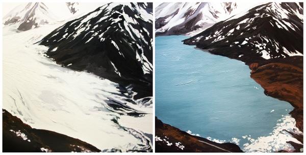 Diane Burko Locks Gallery Politics of Snow Portage Glacier #1 and #2