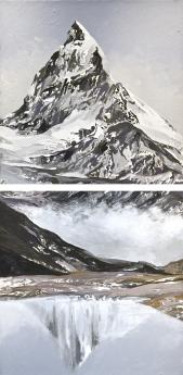 Diane Burko Politics of Snow Locks Gallery Disappearing Series 2A, 2B