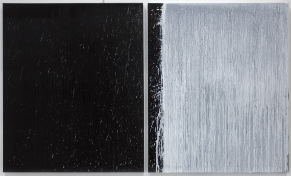 Pat Steir Paintings on Painting Locks Gallery White and Black Diptych with White Splash