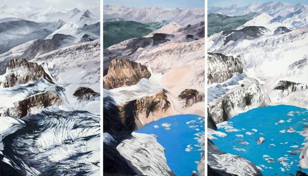 Diane Burko Locks Gallery Politics of Snow Frinnell Mt. Gould #1, #3, #4