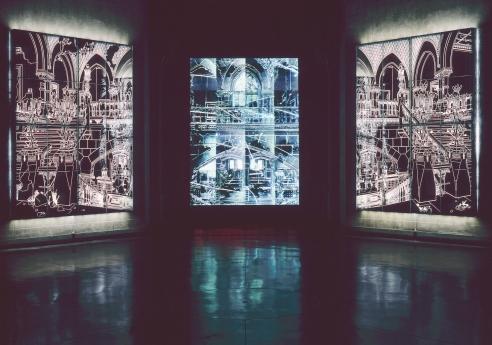 Ellen Harvey Mirror PAFA Locks Gallery