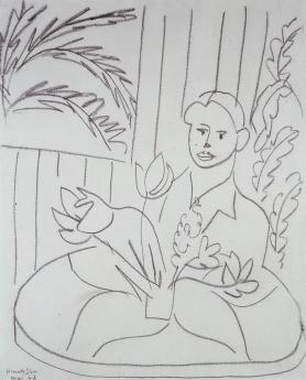 Locks Gallery Drawing Henri Matisse Portrait de femme aux fleurs