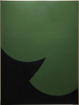 "Leon Polk Smith, ""Correspondence Green-Green,"" 1966, acrylic on canvas, 68 1/4 x 50 1/4 in"
