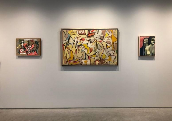 JACKSON POLLOCK, Untitled (Composition on Brown), c. 1945, oil on brown canvas, 15 1/8 x 21 1/8 in., CR132, ELAINE DE KOONING, Untitled #16, 1948, enamel on paper mounted to canvas, 32 1/4 x 50 in., REUBEN KADISH, Untitled (WPA Mural Study) c. 1935, oil on masonite, 17 1/2 x 13 3/4 in.