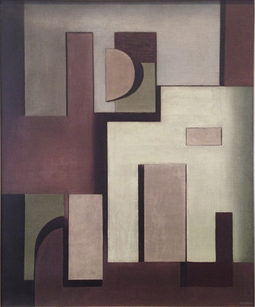 """Jean Xceron, """"Composition No. 212,"""" 1937, oil on canvas, 21 1/2 x 18 in."""