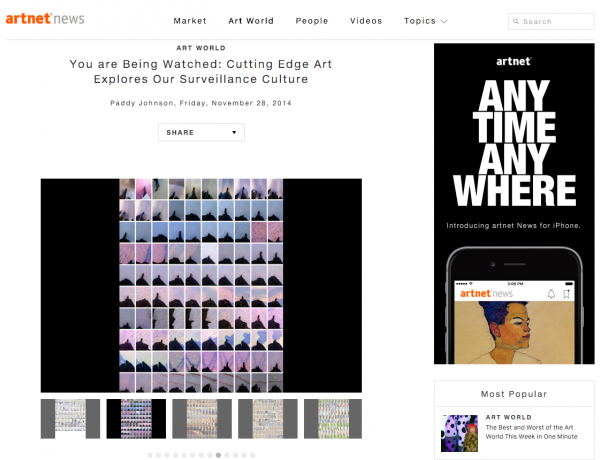 Artnet: You are Being Watched: Cutting Edge Art Explores Our Surveillance Culture