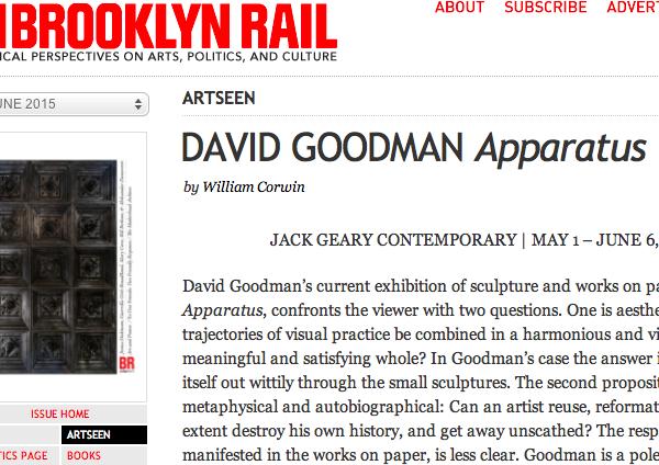Brooklyn Rail: DAVID GOODMAN Apparatus