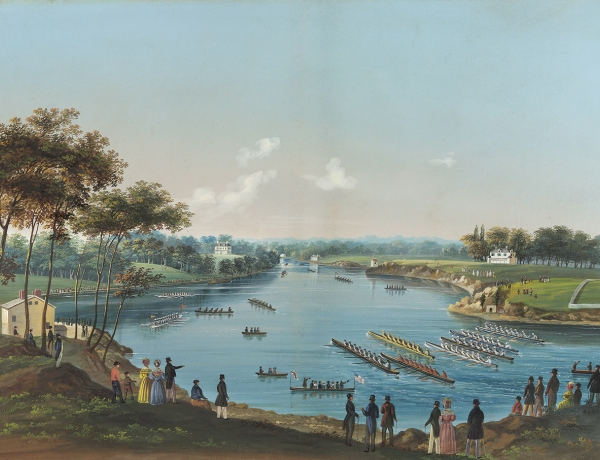 River with row boats
