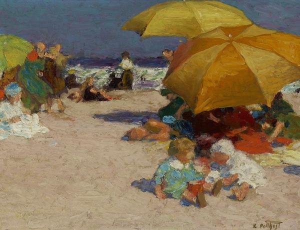 beach scene with umbrellas