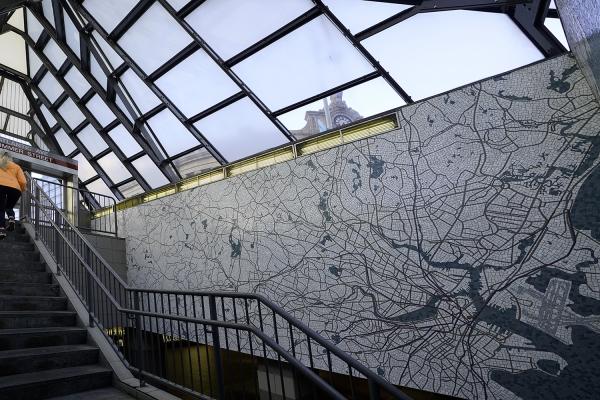 Ellen Harvey's mosaic NETWORK opens at Boston's South Station