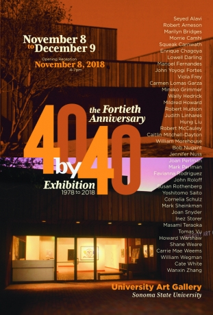 Promotional graphic for the exhibition '40x40' at the Sonoma State University Art Gallery, picturing the gallery exterior, 2018.