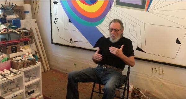 Luis Cruz Azaceta in his studio, New Orleans, LA, 2020.