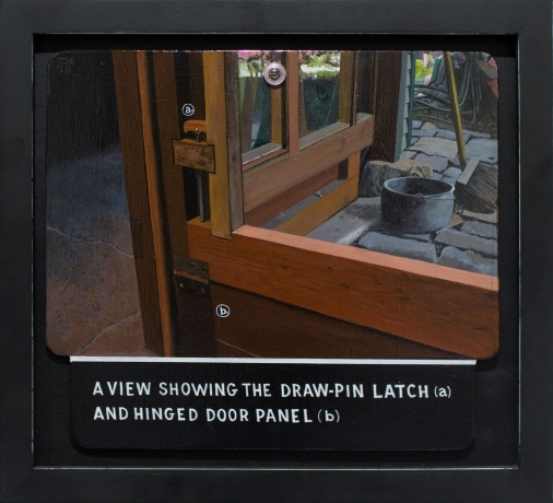 Tony May, 'A View Showing the Draw-Pin Latch (a) and Hinged Door Panel (b),' 2018.