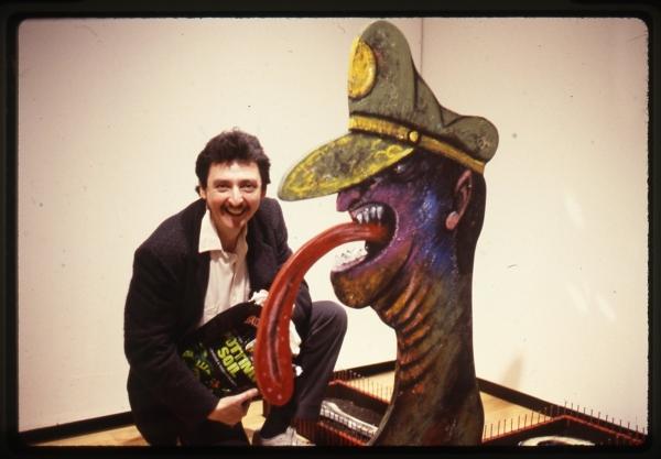 Luis Cruz Azaceta installing his 1988 sculpture 'El Dictador'