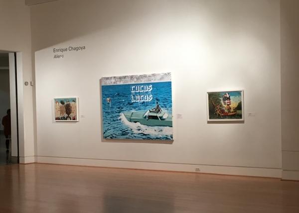 Installation view, Enrique Chagoya, Aliens, Triton Museum of Art, Santa Clara, CA, 2020.