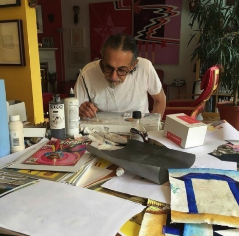 Enrique Chagoya working at home, 2020.