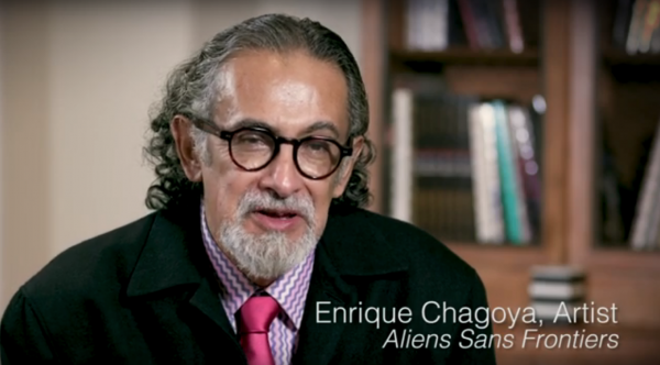 Still from Enrique Chagoya's interview the National Portrait Gallery, 2019.