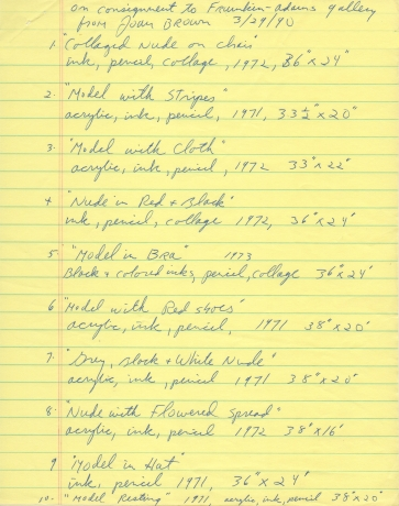 From the Archives: Joan Brown's handwritten checklist of drawings