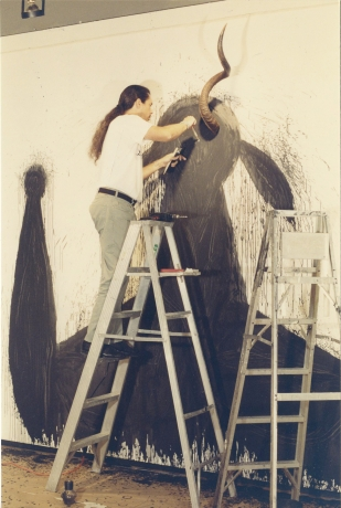 "Jose Bedia installing ""Bilongo Negro"" at the gallery, 1994"
