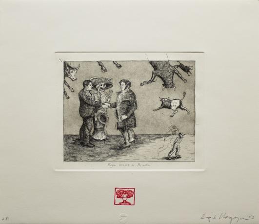 Enrique Chagoya, 'Goya conoce a Posada (Goya Meets Posada,' from the suite of etchings 'Homage to Goya II: Disasters of War,' 2003.