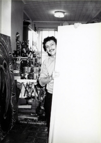Luis Cruz Azaceta in his Queens studio circa the early 1980s.