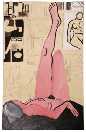 Joan Brown, 'Model with Drawings,' 1973.
