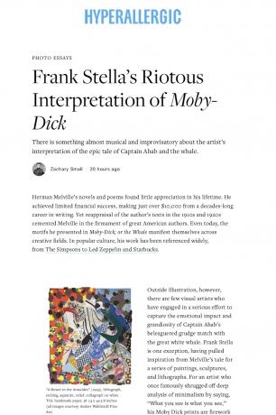 Hyperallergic: Frank Stella's Riotous Interpretation of Moby Dick