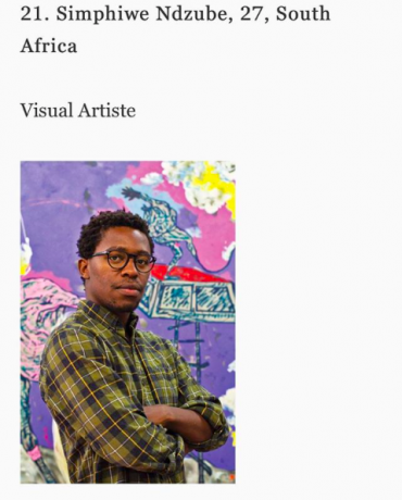Congrats to Simphiwe Ndzube for his inclusion on Forbes Africa's list of 30 Creatives Under 30!
